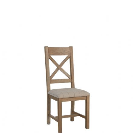Henley Oak  Cross Back Chair Fabric Natural Seat